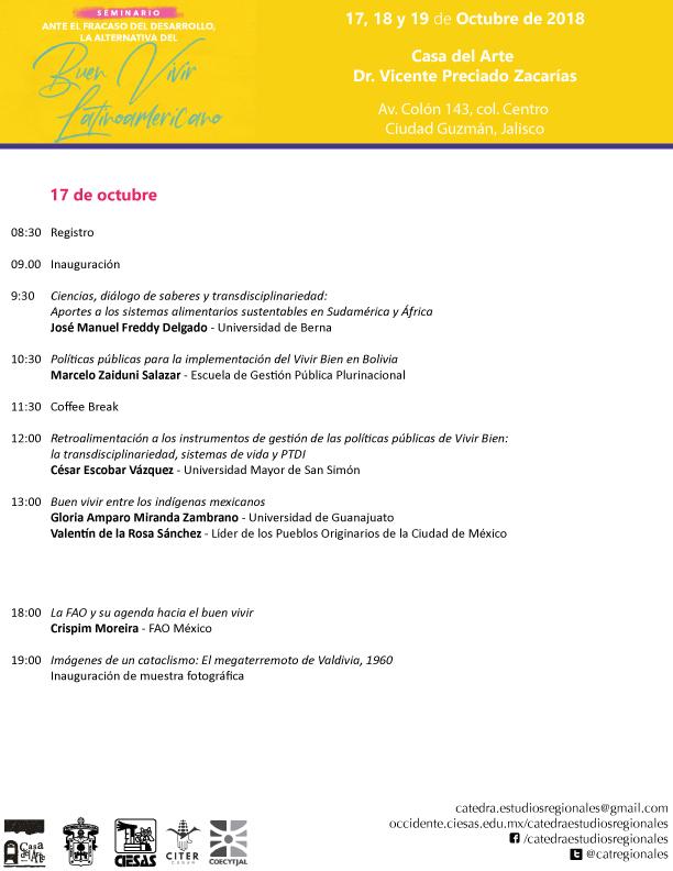 Programa Seminario Buen Vivir Cátedra de Estudios Regionales