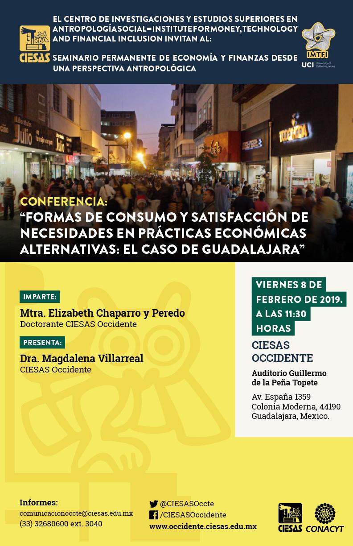 """conferencia """"Formas de consumo y satisfacción de necesidades en prácticas económicas alternativas: el caso de Guadalajara"""""""