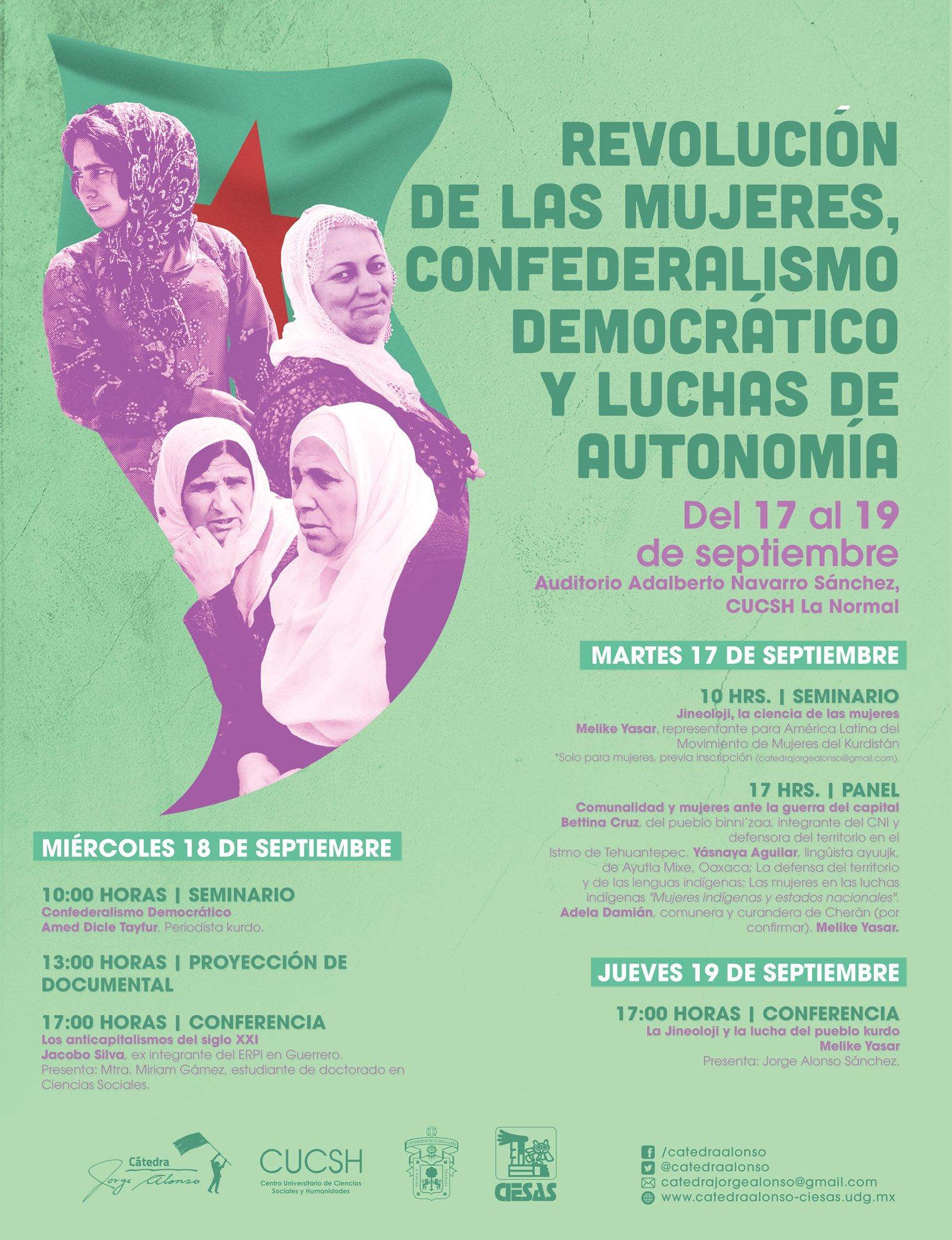 Seminario Revolución de las mujeres, Confederalismo Democrático y Luchas de autonomía cátedra Jorge alonso